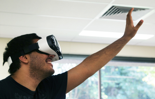 Virtual Reality (VR) goggles being used